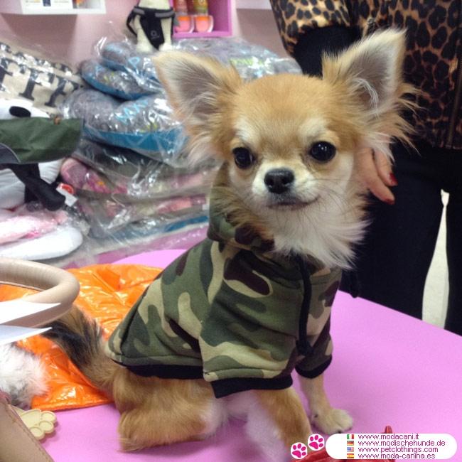 Felpa verde mimetica per cani di taglia piccola for Marsupio per cani di piccola taglia