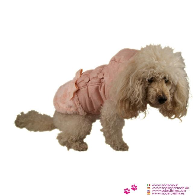 rosa jacke f r kleine hunde mit fell f r pudel yorkshire. Black Bedroom Furniture Sets. Home Design Ideas