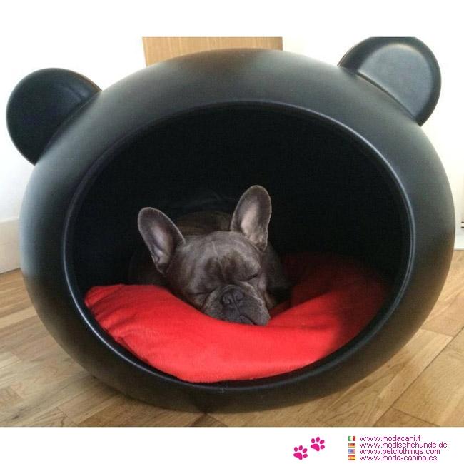 Panier t te noir pour petite chien chihuahua caniche yorkshire avec couss - Panier design pour chien ...