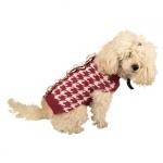 Hahnentritt Pulli für Hunde Weiß und Rot