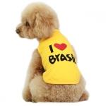 Camiseta Perros Pequeños I LOVE BRASIL Amarilla
