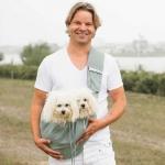 Tragetuch mit Tasche für Hunde bis 15 kg aus Baumwoll-Leinenstoff