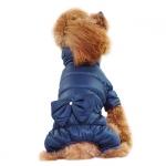 Winteranzüg für Hund in Blau mit Bogen