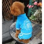 Royal Blau Overall in Chenille für kleine Hunde