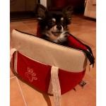 Rot und Weiß Tasche für Hunde aus Mikrofaser