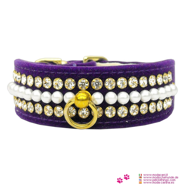 Halsband für Hunde in Lila Samt mit Perlen und Strass