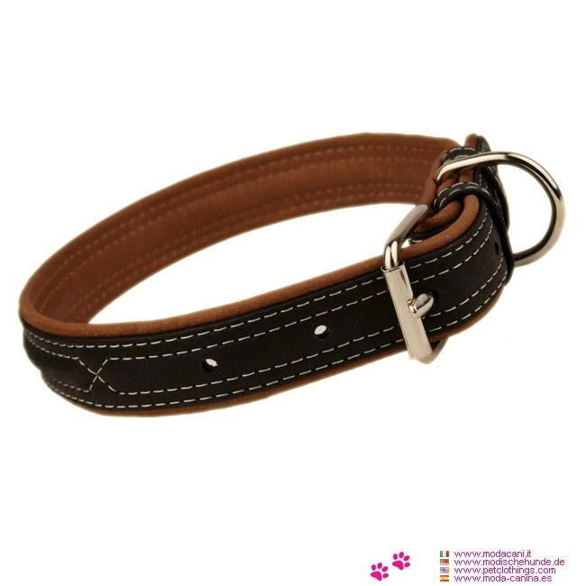 Weiche Lederhalsbänd Schwarz für Hunde