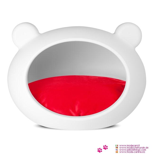 Weiß Hundehöhle für kleine Hunde mit Roten Kissen