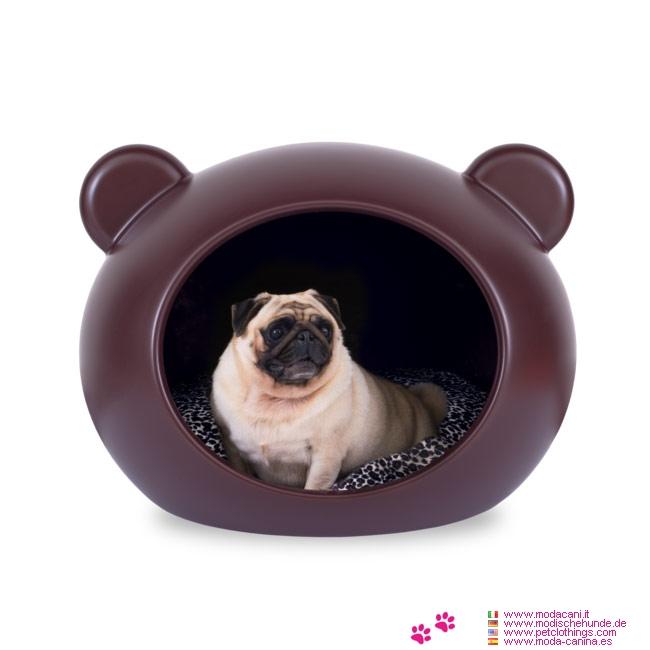 Braun Hundehöhle für kleine Hunde mit Tartan Kissen