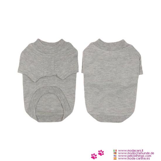 Einfarbig Hund T-shirt in Grau