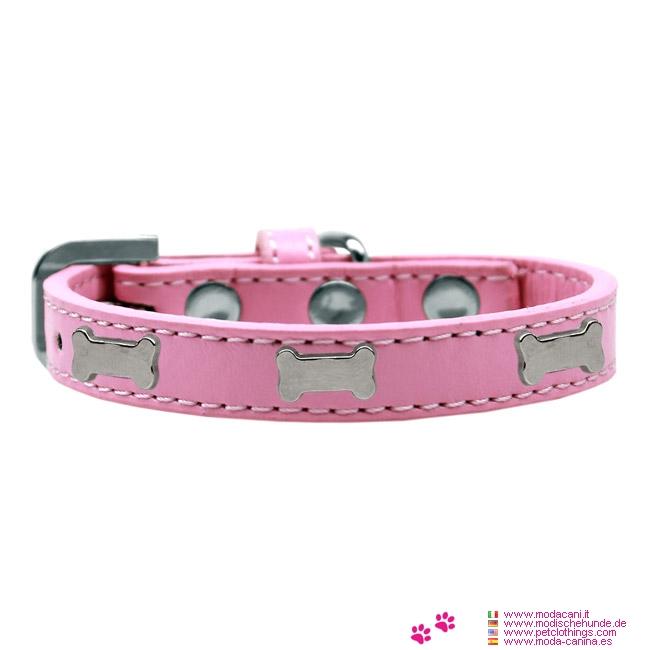 Halsband F U00fcr Kleine Hunde  F U00fcr Chihuahua  Pudel  Shih Tzu  Malteser  In Hellrosa Mit Knochen