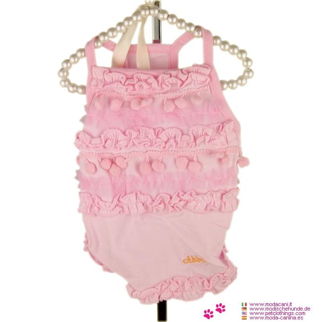 Rosa Kleid für kleinen Hund mit Rüschen