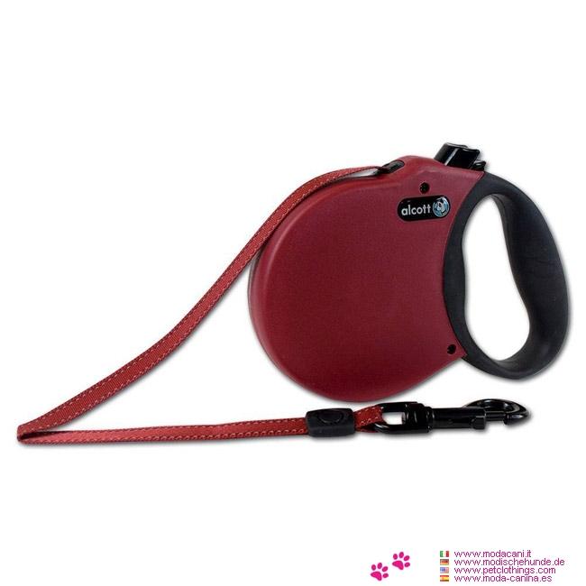 Einziehbare Hundeleine Rot für kleine Hunde mit Gurt