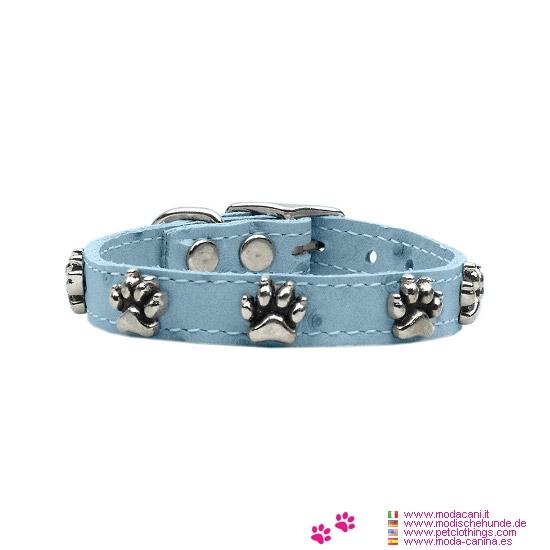 Halsband Kleine Hunde aus Hellblauem Leder