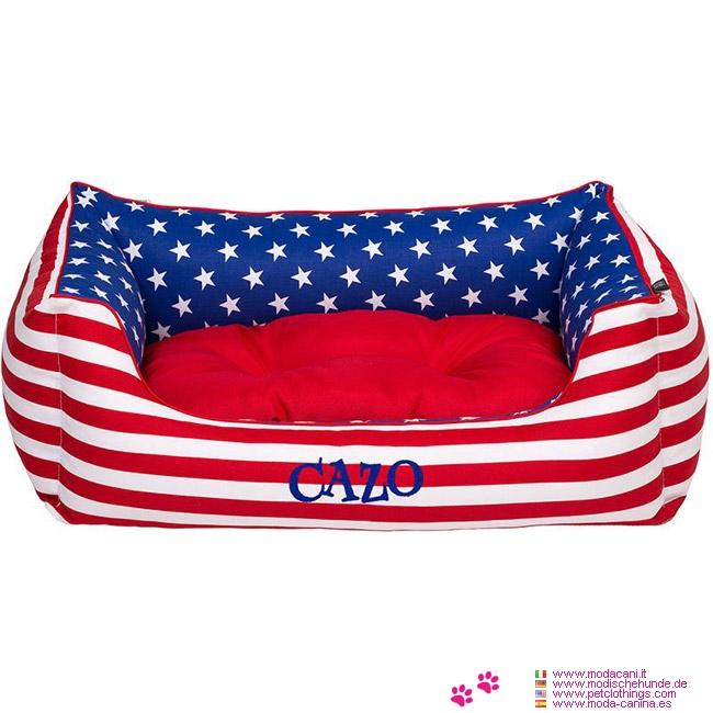 Abnehmbarer Hundebett für kleinen Hund im USA-Flaggenmuster