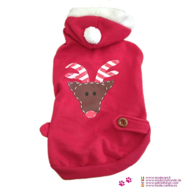 Weihnachts-Sweatshirt mit Rentier und Kapuze für Kleine Hunde