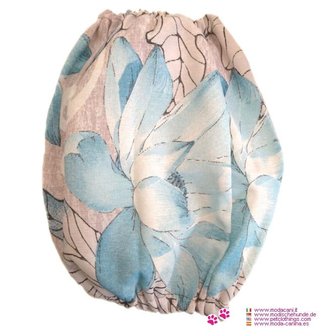 Ohrenschutz Hellblau für Cocker Spaniel mit Blumen