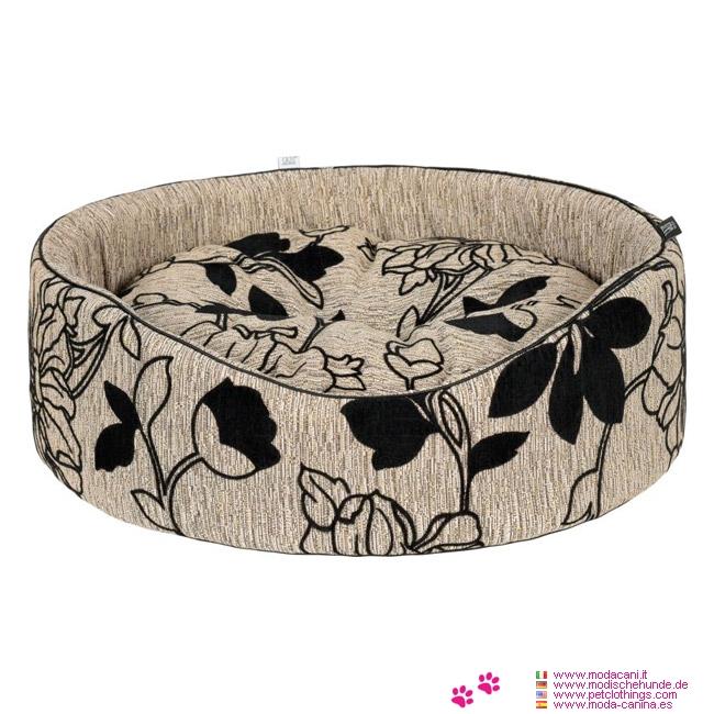 Oval Hundebett kleine Hunde in Beige mit Blumen