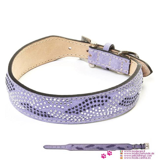 Lila Halsband aus Wildleder mit Strasssteinen für kleine Hunde