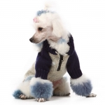 Zip blu and beige sweater for dogs