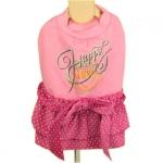 Plüsch Kleid für Hündinnen in Rosa mit Tupfen Rock