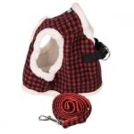 Roten Winterharness für Hunde mit Leine