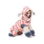 Winter-Anzug Rosa für Hund mit Schal und Mütze