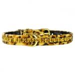 Leopard Halsband mit Strasssteinen für kleine Hunde