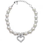 Perlenkette Weiß mit Strass für Hund