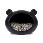 Schwarz Hundehöhle für kleine Hunde mit Leopard Kissen