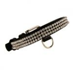 Brillant Lederhalsband für Hunde in Schwarz mit Strass