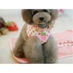 Geschirr für kleine Hunde weiße und rosa mit Erdbeeren