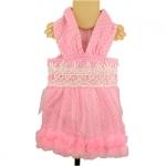 Kleid für Hund Sissi Rosa mit weißen Tupfen