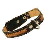 Lederhalsband für Mittelgroßen Hund  mit Schnürung in Schwarz