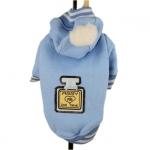 Hellblau Sweatshirt mit Kapuze und Pompon für Hunde