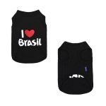 Undershirt for Small Dogs I LOVE BRASIL in Black