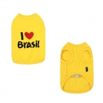 Undershirt for Small Dogs I LOVE BRASIL in Yellow