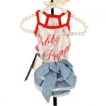 Spitze-Kleid für kleine Hunde mit Jeansrock