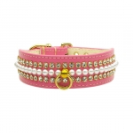Dog Collar with Pearls and Rhinestones in Pink