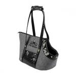 Stilvolle Tasche für kleine Hund in Schwarz und Grau
