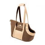 Stilvolle Tasche für kleine Hund in Braun und Creme
