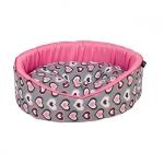 Oval Hundebett für kleine Hund in Rosa mit Herzen