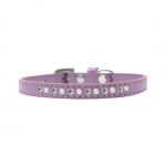 Kunstleder Lavendel Halsband für Kleine Hunde mit Strass und Perlen