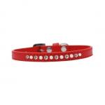 Kunstleder Rot Halsband für Kleine Hunde mit Strass und Perlen