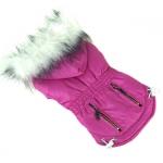 Mantel für kleine Hunde in Fuchsia mit Kapuzen