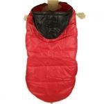 Roter Wintermantel mit Schwarz Kapuze für Große Hunde