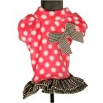 Winterkleid mit Rock für Kleine Hunde in Wassermelone Rosa mit Tupfen