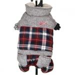 Winteranzug für kleine Hunde in Grau und Rot Tartan