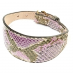 Windhundhalsband aus Leder mit Python-Print Fuchsia