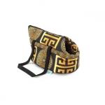 Modische Tasche für kleine Hunde Schwarz und Gold
